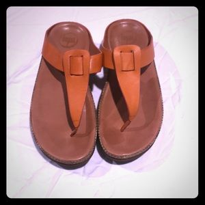 Orange Leather Fit Flop Sandals